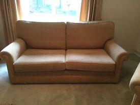 3 seater Shaun Bott sofa custom made with armchair and poff
