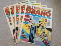 Beano, 5 nice quality comics from 1992/94 collectable.