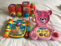 Vtech toys rhyme book, pop up train, baby bear laptop