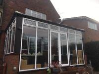 Aluminium and hardwood conservatory