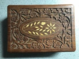 Single hand carved wooden Jewllery box