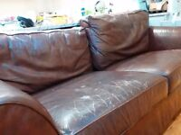 Large 3 seater dark brown leather sofa