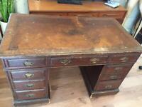 Antique double pedestal leather top desk vintage