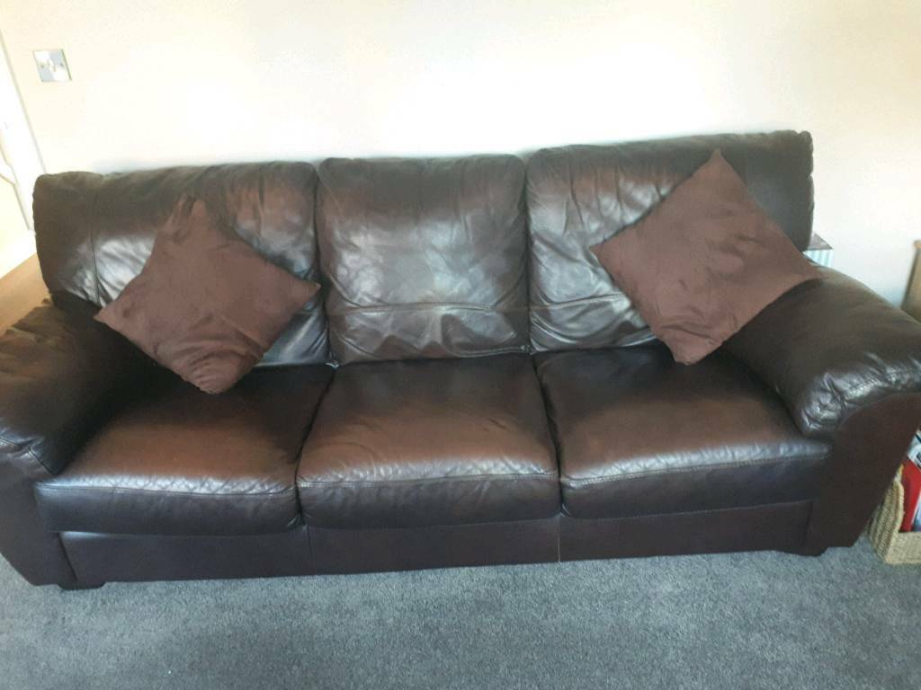 Furniture Village Brown Leather Sofa In Bournemouth Dorset