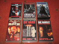 6 VHS Video Cassettes Terminator, Die Hard, The Matrix, The Rock, Action Sci-Fi Films