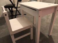 Children's wooden chair and desk
