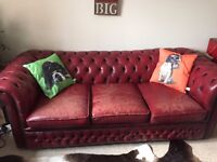 Vintage original blood red chesterfield large 3 seater sofa