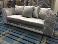 BRAND NEW CRUSHED VELVET SOFA SETTEE COUCH 3 SEATER AND 2 SEATER SILVER OR BLACK