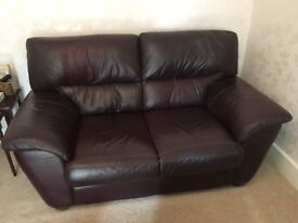 Brown Leather 2 Seater Sofa very good condition