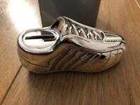 Silver football boot money box brand new