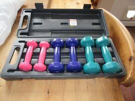 Box set of hand weights 0.5kg-1.5kg
