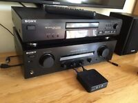 Sony Amp & CD Player with Speakers & Remote