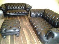 Black leather Chesterfield suite Oskar Tetrad range @ DFS 3 seat 2 seat + Footstool