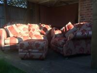 DFS 3 seater, chair and storage pouffee