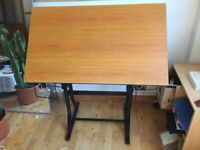Drawing desk/ Drafting desk/ Reclining desk for artists or architects and designers