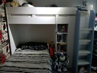 High sleeper bed with wardrobe, shelves and draw