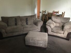 DFS three piece suite, sofa, armchair and pouffe/foot stool with storage inside. 2 years old