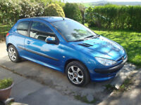 peugeot 206 1.1S 05 year, moted till jan 2019, good first car/cheap runabout, new tyres an brakes.