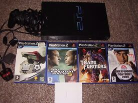PLAYSTATION 2 WITH GAMES AND MEM CARD AND CONTROLLER