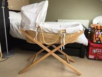 Mamas and Papas Moses Basket + Stand + Extra bedding