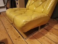Vintage 70s Yellow Leather Tetrad Nucleus Lounge Chair