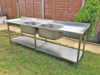 Double Bowl, Double Drainer Stainless Steel Catering Sink