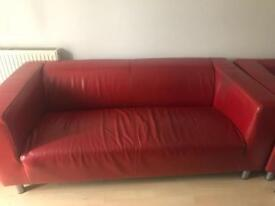 2 x red leather Ikea sofas