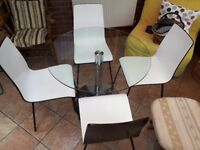 8a7d579eb9f Glass M S Round Dining Table Set and 4 White Wooden Chairs with Metal Legs  -Used