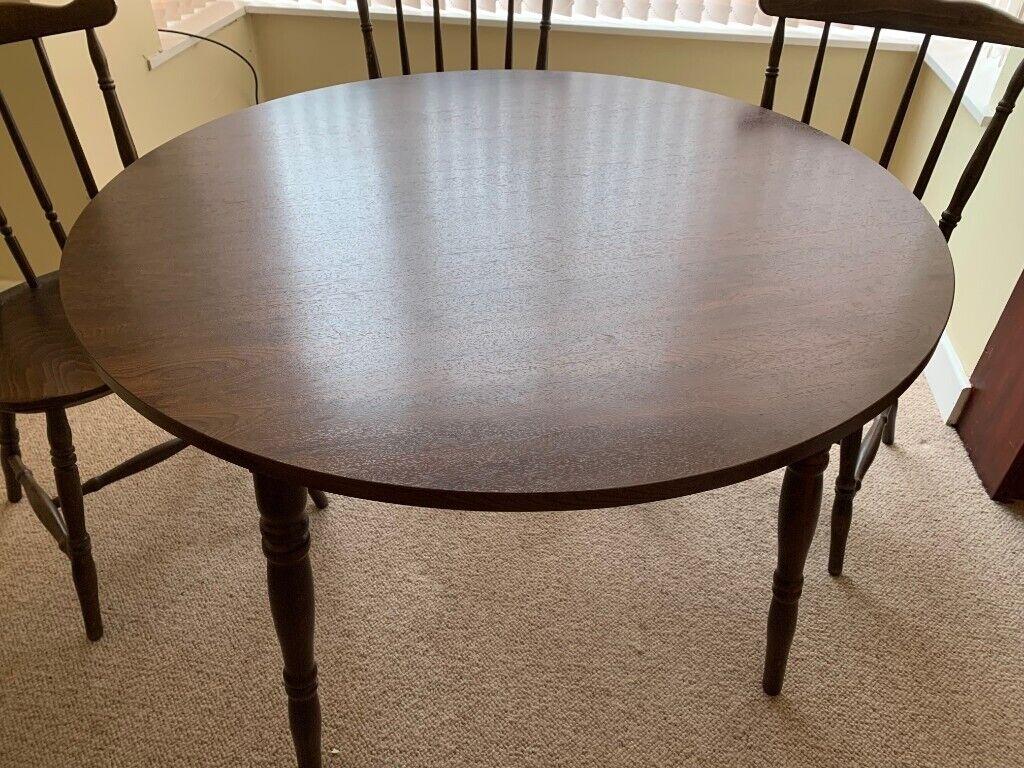 Dark Wood Table And Three Chairs Blackpool