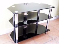TV Table/Stand Reinforced Toughened Black Glass