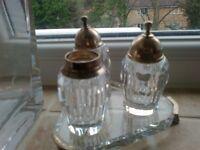 silver plated crystal salt pepper pots