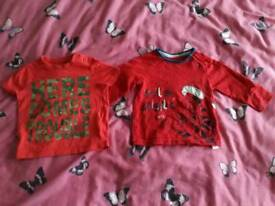 2 Baby Boy Blouses 6-9 Months F&F and Disney Baby