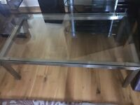 Glass / brushed steel coffee table and glass and chrome occasional table