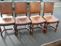 4 1920's Mahogany, leather & brass studded boardroom chairs