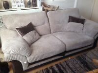 Fabric sofa, chair, and storage footstool