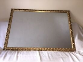 Stunning Large Antique Gold Framed Mirror (approx 1m x .68m)