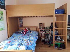 Habitat Ando High Sleeper & Habitat Twist Single Bed - Oak Veneer