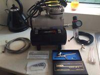 Iwata HP-C airbrush - Compresor - paints - Full setup (Worth more than £450 new)