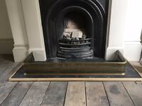 Victorian brass fire hearth fender