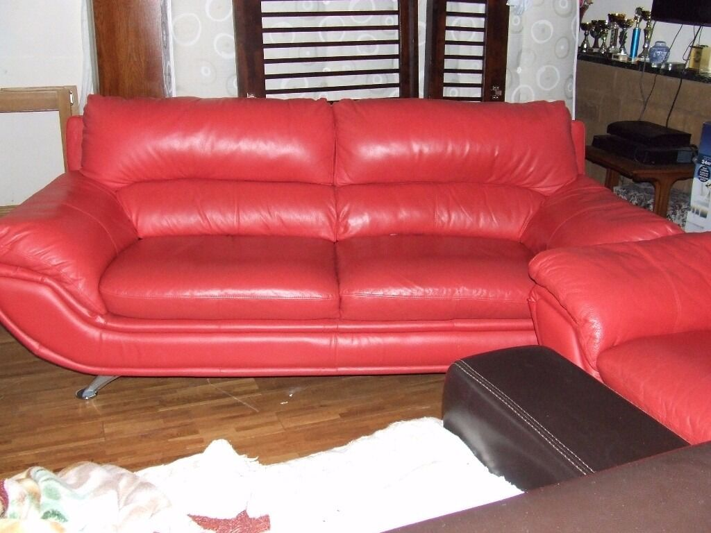 SOFAS QUALITY FULL RED LEATHER VERY GOOD CONDITION FREE EDINBURGH DELIVERY