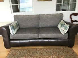 Beautiful American leather and fabric sofa