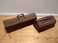 Vintage metal toolboxes, retro with inner tray