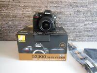 Nikon D D3300 24.2MP Digital SLR Camera - Black (Kit w/ AF-S DX 18-55mm VR II lens. NEW