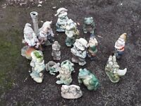 Various types of Garden Gnomes for sale.