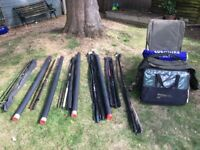6 Fishing rods,plus bag, shelter, keep net and carp chair £150