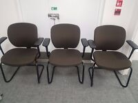 Bristol: 3 brown upholstered cantilever elbow chairs