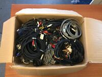 JOB LOT x80 COMPUTER CABLE | A/V RCA 1-30m Ethernet Firewire Kettle | List below
