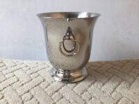 Guy Degrenne Polished Stainless Steel Bartop Ice Bucket. Beautiful Fluded Shape. Ears, Rings & Tongs