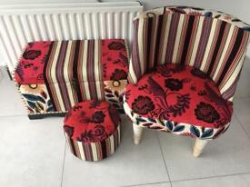 Patch work chair and foot stool with chest