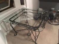 Dining Table and 4 Chairs - Wrought Iron and Glass